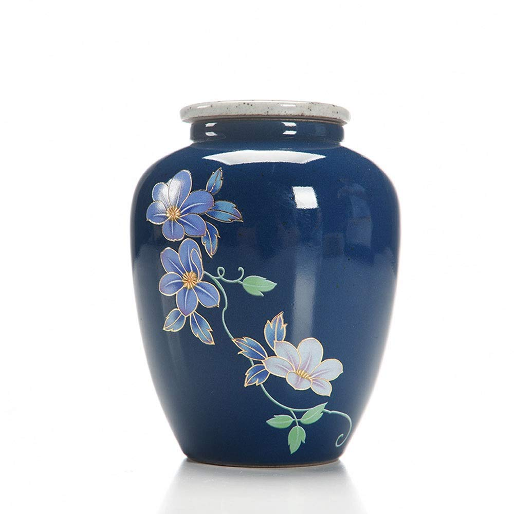bluee HLWAWA Funeral Urn Cremation Urns for Human Ashes Adult And Memorial Urns Burial Urns At Home Made in Ceramics & Hand (color   bluee)