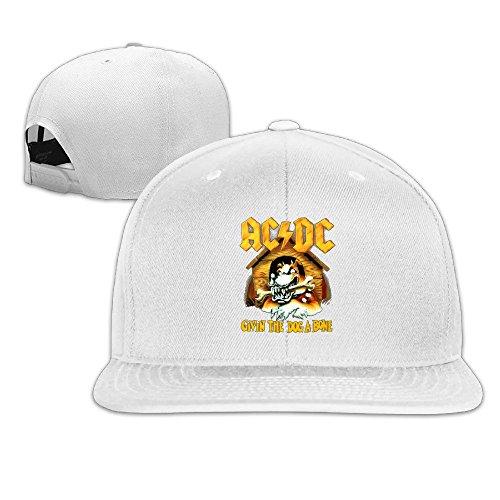 Unisex,Designer White AC DC Givin The Dog A Bone Back In Black Baseball Hat Snapback Baseball Cap (Ac Dc Givin The Dog A Bone)