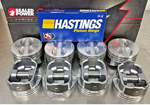 (Sealed Power Speed Pro Hyper Pistons and MOLY Rings compatible with SBC 350 SB 5.7L 5.7 H345DCP +.040