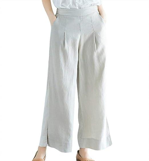 1c2d7e8f0638 Femme Printemps Eté Elégante Mode Pantalons Large Uni Manche avec Poches  Fourcher Taille Élastique Taille Haute