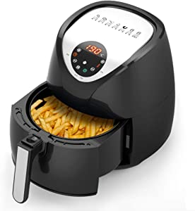 3.4L Air Fryer, 1230W Black, Temp Control, Multifunctional Household Oil-free Oven with Lcd Digital Screen and Non-stick Pan, for Roasting, Baking, Reheating