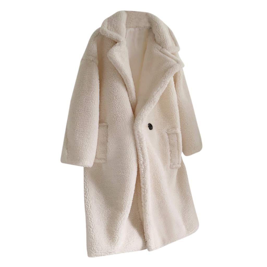 HCFKJ Women Tops Fashion Autumn and Winter Loose Medium Long Windbreaker Lamb Coat(White,XXL) by HCFKJ