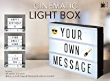 A4 Cinematic Light Box Sign - 105 Letters and Colour Emojis - USB or Battery Operated - USB Cable Included - Vintage Cinema LED Sign