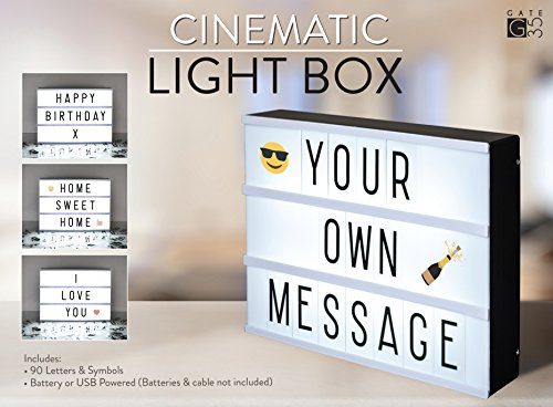 A4 Cinema Light Box - Vintage LED Sign with 105 Letters and Colour Emojis, USB Lead Included