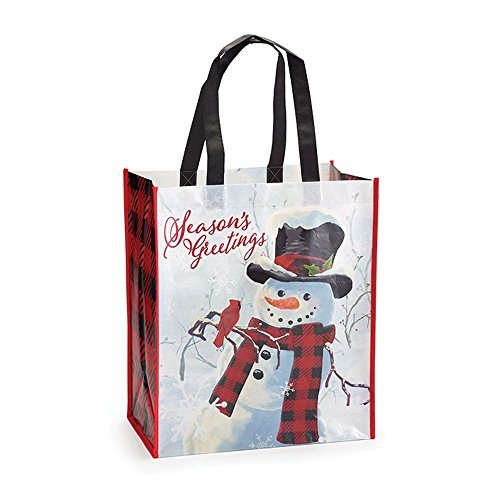 (Burton and Burton 186841 Winter Scene with Snowman Tote, Multicolor)