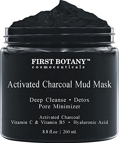 Activated Charcoal Mud Mask 8.8 fl oz. - For Deep Cleansing & Exfoliation, Pore Minimizer & Reduces Wrinkles, Acne...