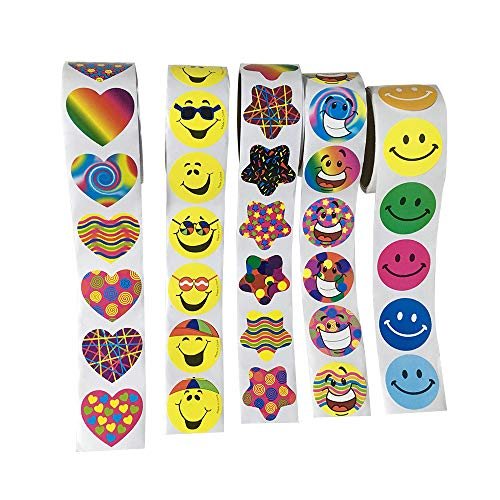 Sticker Roll 5 Rolls of Party Supplies Stickers for Kids Teachers 500 Stickers]()