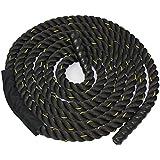 "ZENY Black 1.5""/2"" Width Poly Dacron 30/40/50ft Length Battle Rope Workout Training Undulation Rope Fitness Rope Exercise"