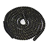 ZENY Black 1.5″ Width Poly Dacron 30ft Length Battle Rope Workout Training Undulation Rope Fitness Rope Exercise,3-Strand Twisted For Sale