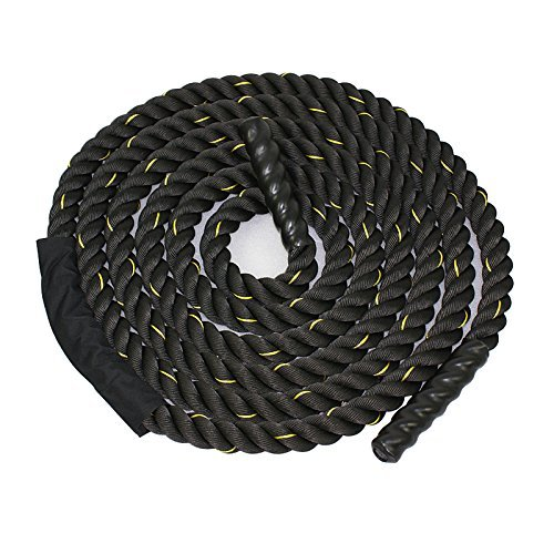 ZENY Black 1.5'/2' Width Poly Dacron 30/40/50ft Length Battle Rope Workout Training Undulation Rope Fitness Rope Exercise (1.5' W x 30'L)