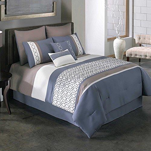 [Covington 8-Piece Modern Chic Stylist Stripes Geometric Bedding KING Comforter Set] (Puff The Green Dragon Dress)