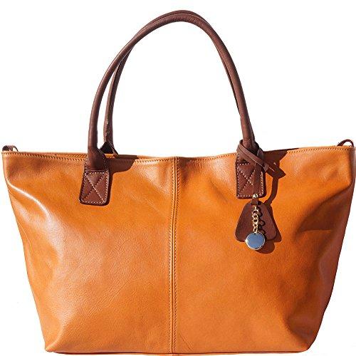 Bolso tipo shopping en cuero suave y con doble mango 3015 Marron claro-marron
