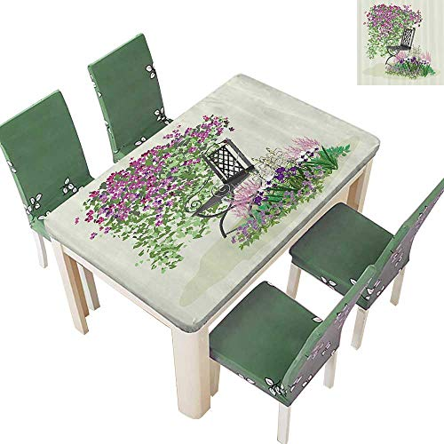 Printsonne Indoor/Outdoor Spillproof Tablecloth Island for Relaxing in The Garden Amg The Flowers Blooming Summer Artwork Restaurant Party 54 x 72 Inch