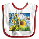 Sunflower And Butterfly Funny Baby Bibs Burp Infant Cloths Drool Toddler Teething Soft Absorbent