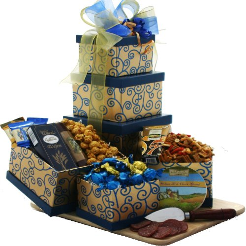Blue Chocolate Hamper (Crowd Pleaser Gourmet Meat, Cheese and Snacks Gift Tower (Chocolate Option))