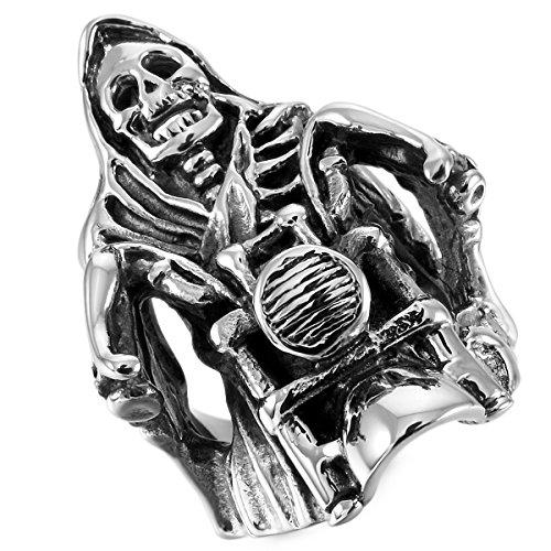 4b26a4f47ac5 Barato MunkiMix Acero Inoxidable Anillo Ring Plata Tono Negro Motocicleta Cráneo  Calavera Hombre
