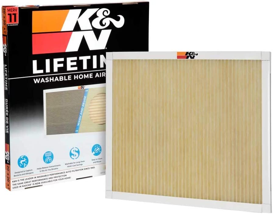K&N Home Reusable Air AC Furnace Filter, 20x20x1
