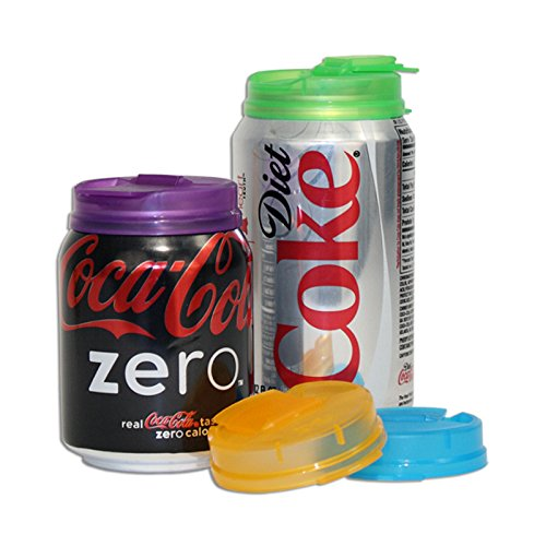 Soda Can Covers 1 Pack (4 pieces) for Carbonated Water or Soft Drink - Best Beer Cans Cover Easy Clip on Caps Lid Seal Opening for a Fresher Drinking Experience BPA Free -