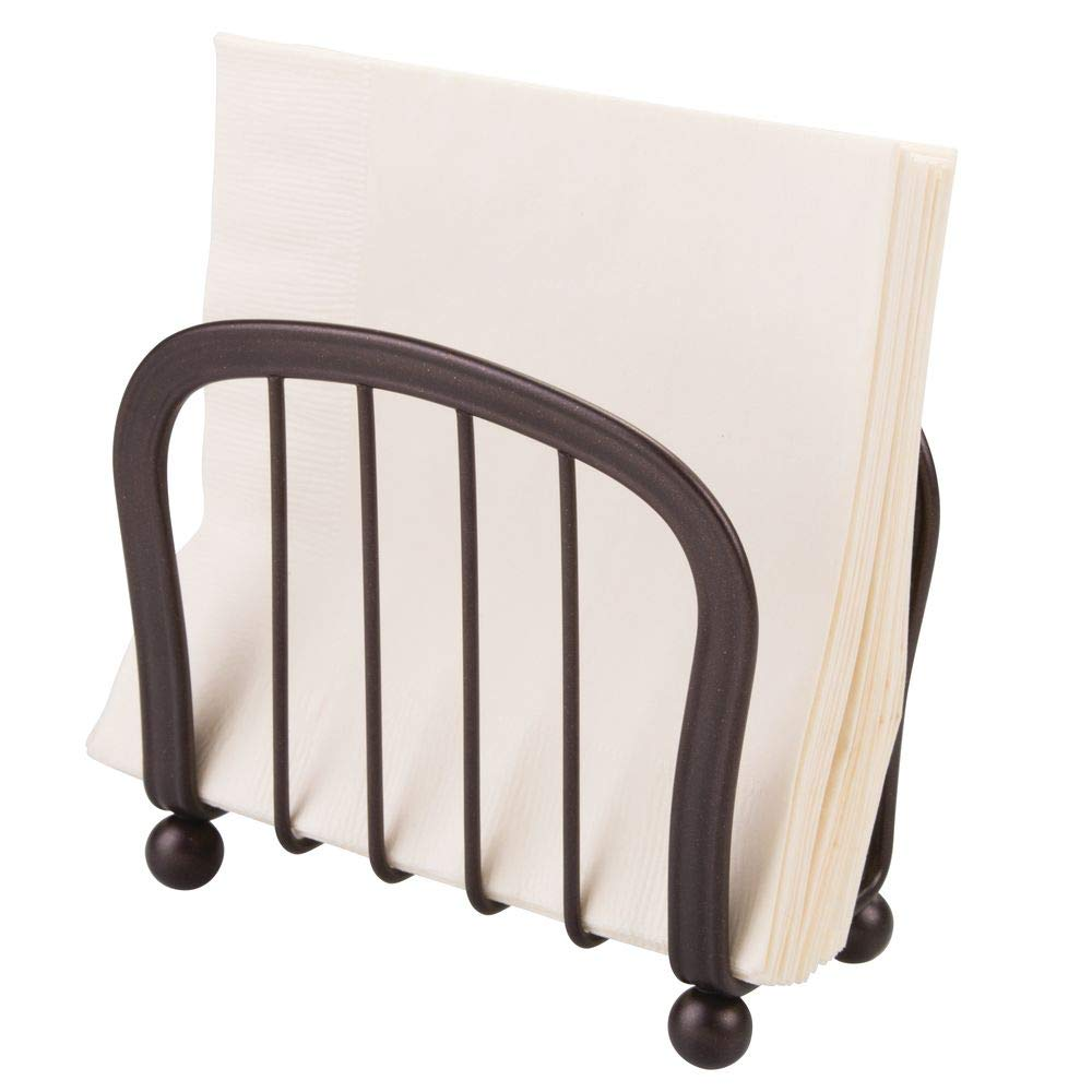 mDesign Modern Decorative Paper Napkin Holder for Kitchen Countertops, Dinner Tables, Picnic Tables - Indoor & Outdoor Use, Storage and Organization for Multiple Sizes - Durable Metal - Bronze