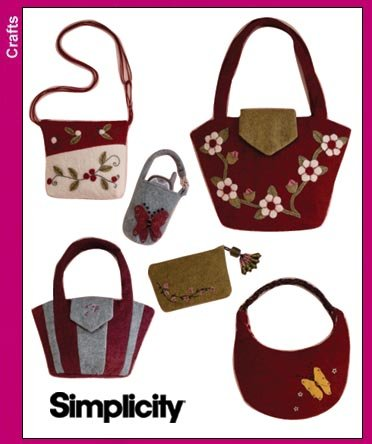 Simplicity 3715 Sew Pattern WASHED FELT BAGS & ACCESSORIES Tote, Purse, Cosmetic and Cell Phone Case Sew Purse Pattern