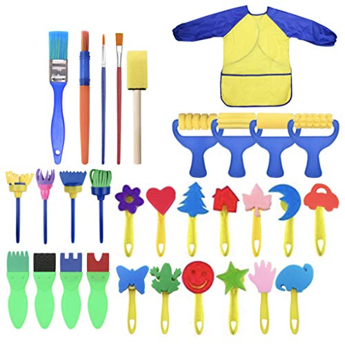 Nivalkid Kids Art & Craft Sponge Painting Brushes Kids Painting For Toddlers Children's Painting Sponge Brush Set 31 Sets for Primary School Kindergarten Art Student (as show) -