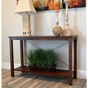 Amazon Com Solid Wood Rustic Sofa Table Distressed