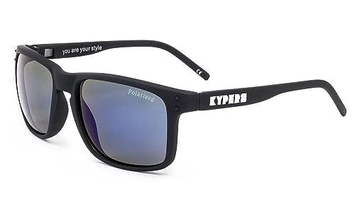 Kypers Coconut, Gafas de Sol Unisex, Matte Black-Blue Mirror, 57