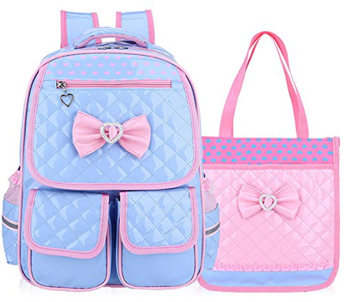 Gazigo Girls Cute School Backpack Children Princess Bookbag Satchel Travel Bag PU Leather + Lunch Bag