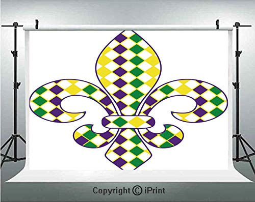 Mardi Gras Photography Backdrops Ancient Fleur De Lis with Traditional Festival Pattern Venetian Vintage Decorative,Birthday Party Background Customized Microfiber Photo Studio Props,5x3ft,Purple Gree -