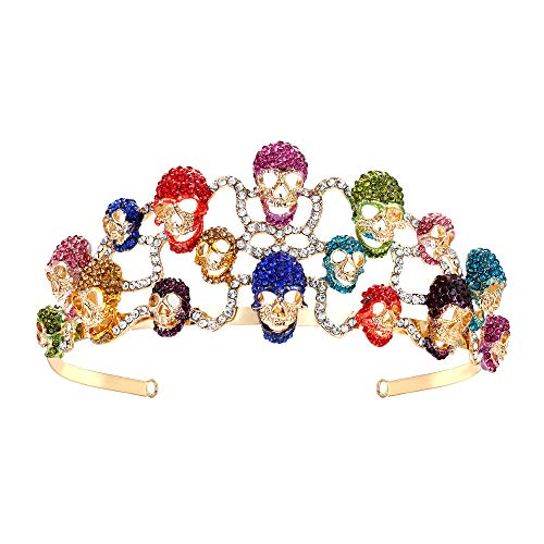 (EVER FAITH Halloween Skull Hair Band Tiara Multicolor Austrian Crystal Gold-Tone)