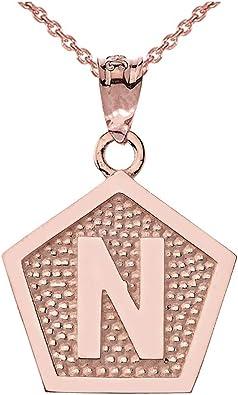 LA BLINGZ 10K Yellow Gold Letter A Initial Pentagon Pendant Necklace