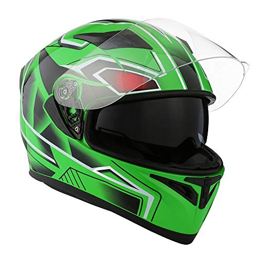 1STorm Motorcycle Street Bike Dual Visor/Sun Visor Full Face Helmet Panther Green, Size X-Large Size XL (59-60 CM,23.2/23.6 ()