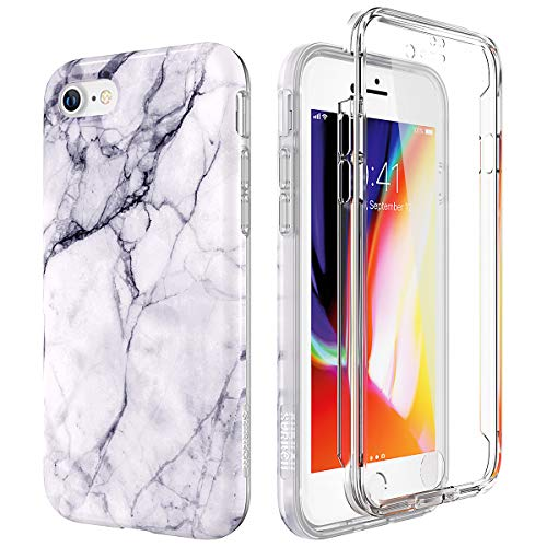 SURITCH Marble iPhone 8 Case/iPhone 7 Case, [Built-in Screen Protector] Full-Body Protection Hard PC Bumper + Glossy Soft TPU Rubber Gel Shockproof Cover Compatible with Apple 7/8- Black/White (Case Protector Rubber)