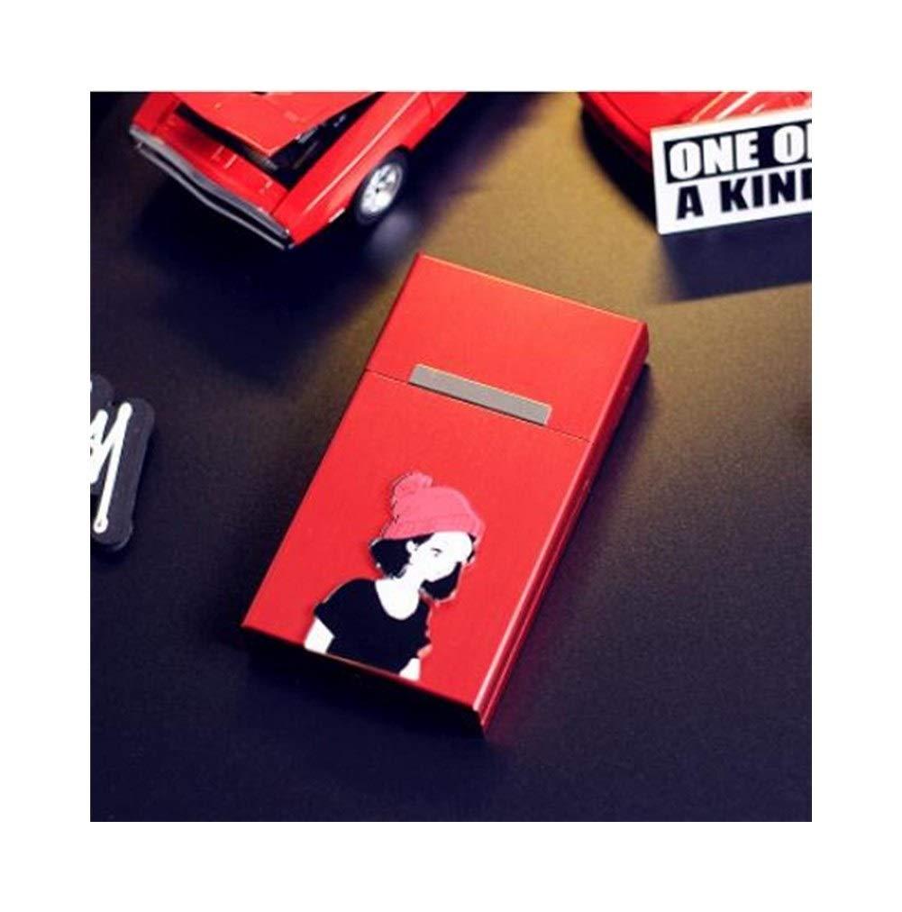 Cigarette Box, Couple Cigarette Case 20 Sticks Ultra-thin Metal Shell Aluminum Alloy Creative Men And Women Portable Automatic Cover Cigarette Box, Red / Black ( Color : Red2 , Size : 9.3cm )