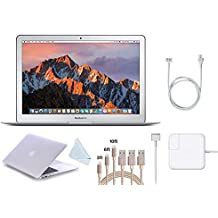 """Apple 13.3"""" MacBook Air (2017 Version) Laptop, Intel Core i5 (Up to 2.9GHz), 8GB RAM w/39 Value Protective Cover, 3-Pack Lightning Cables (3,6,10 feet), Screen Cleaning Cloth (128GB, White Cover)"""