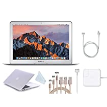 """Apple 13.3"""" MacBook Air (2017 Version) Laptop, Intel Core i5 (Up to 2.9GHz), 8GB RAM, 128GB SSD, w/$39 Value Protective Cover, 3-Pack Lightning Cables (3,6,10 feet), Screen Cleaning Cloth(White Cover)"""