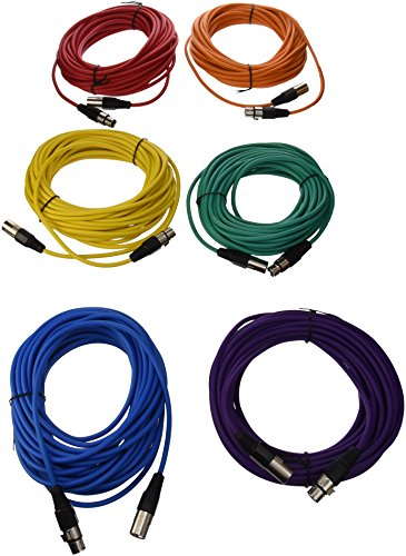SEISMIC AUDIO - SAXLX-50 - 6 Pack of 50' Multiple Color XLR Male to XLR Female Microphone Cables - Balanced - 50 Foot Patch Cords by Seismic Audio