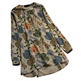 Lazzboy Tops Blouse Shirt Womens Ethnic Long Sleeve V Neck Ladies Vintage Button Plus Size Oversized(2XL(16),Beige-Big Leaves)