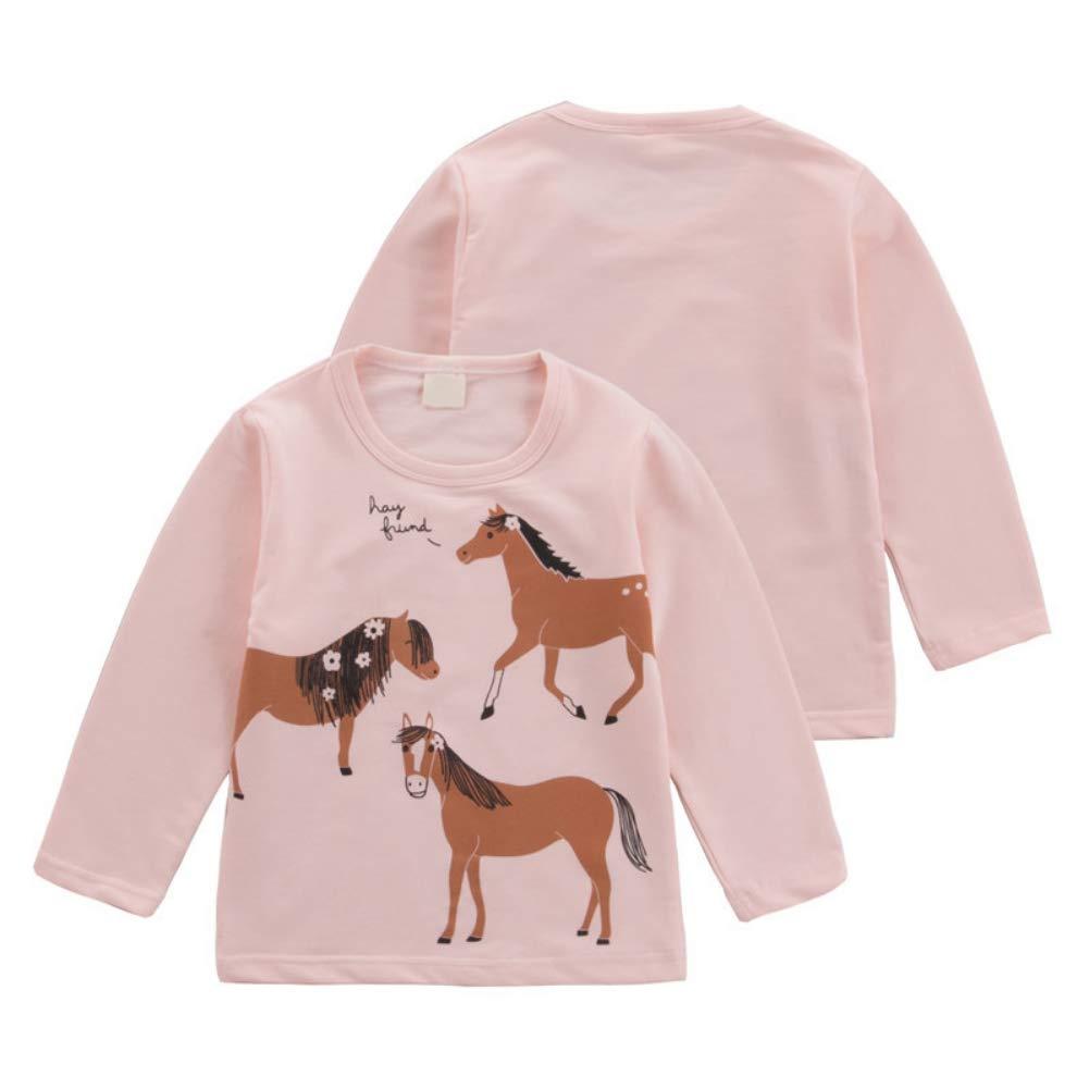EEFRVDFFDE 2019 Autumn Children Long Sleeve Horse Print Tee Wear Round Collar Cotton Casual T-Shirt