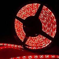 高輝度LEDテープライトSMD 5050 RGB 5M 300連 強力粘着両面テープ 正面発光防水仕様IP65 切断可能 (レッド)