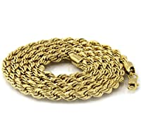 """Mens Gold Tone King Crown Lion 3D Hip Hop Micro Pendant with 30"""" Inch 4mm Rope Chain"""