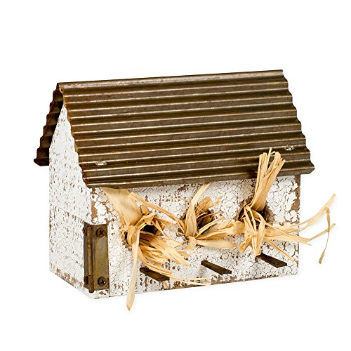 Honey In Me Small Wide Rustic Whitewashed Distressed 6 x 6 Wood and Metal Roof Decorative Birdhouse (Distressed Birdhouse)