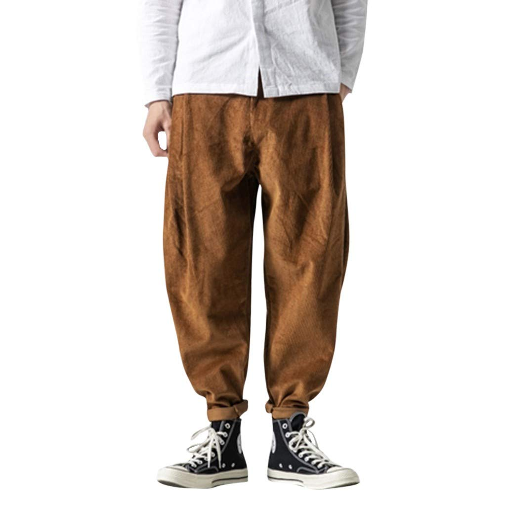 Aleola Men's Casual Retro Trousers Large Pure Color Pant (Coffee,M) by Aleola_Men's Pants