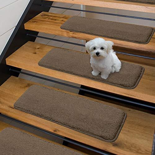(Sweethome Stores Non-Slip Shag Carpet Stair Treads, (9