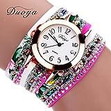 Ikevan Popular Women Quartz Watch Luxury Bracelet Flower Gemstone Wristwatch (Hot Pink)