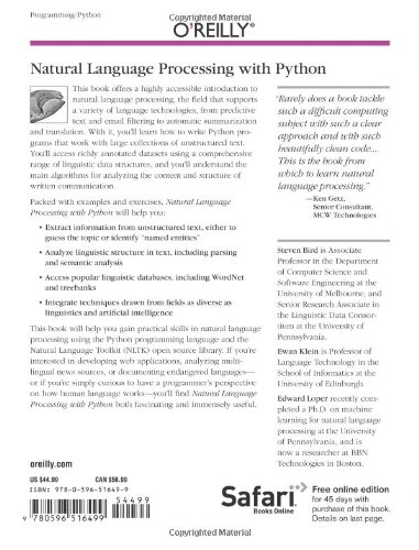 Natural Language Processing with Python: Analyzing Text with the Natural Language Toolkit by Brand: O'Reilly Media