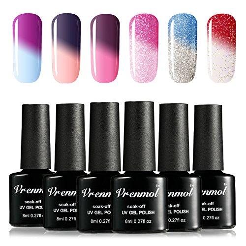 Vrenmol Gel Nail Polish Set, Soak Off UV LED Temperature Col
