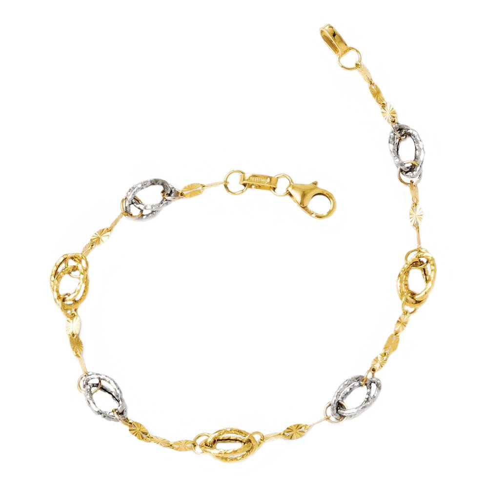 Leslie's 14k Two Tone Yellow Gold and White Rhodium, Polished and Textured Oval Link Bracelet 7.25 Inches