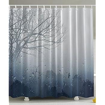 ... Art Prints Romantic Window Water Drops View Melancholia Therapy Lonely  Tree Unique Bath Decor Polyester Fabric Shower Curtain Gray Denim