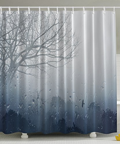 Rainy Scene Mystic Foggy Forest Abstract Artwork, Art Prints Romantic Window Water Drops View Melancholia Therapy Lonely Tree Unique Bath Decor Polyester Fabric Shower Curtain Gray Denim